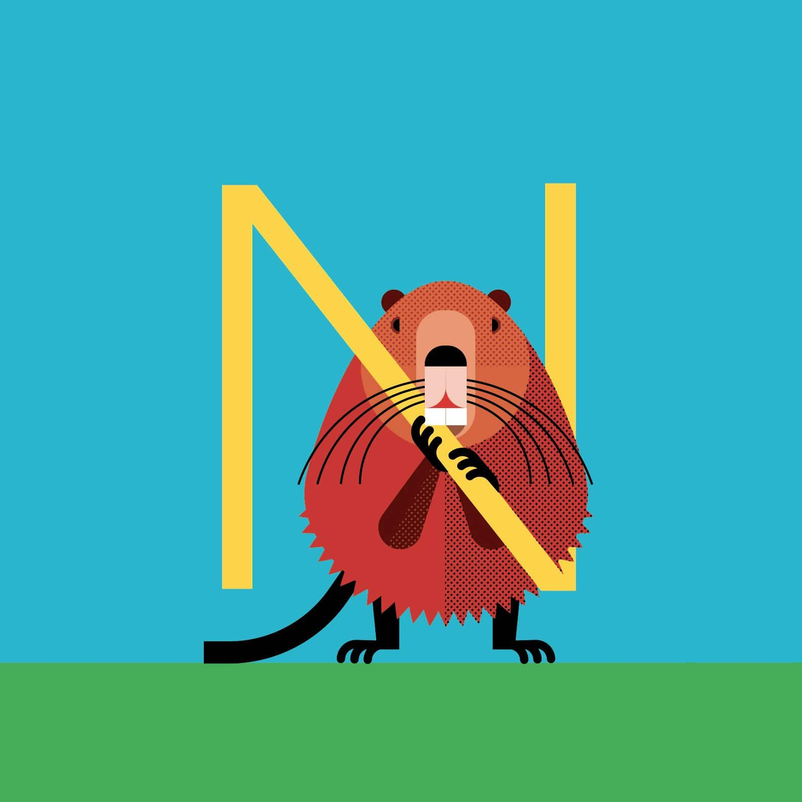 alice-iuri-poster-animal-nutria-illustration